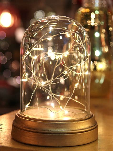 Glass Display Dome Cloche With 20 Suspended LED Fairy