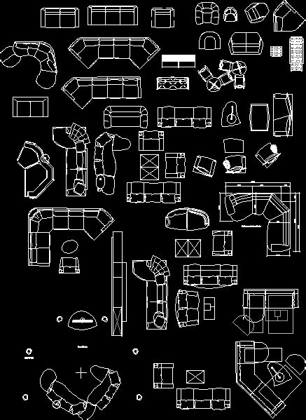 Notebook Living Room Armchairs DWG Block for AutoCAD