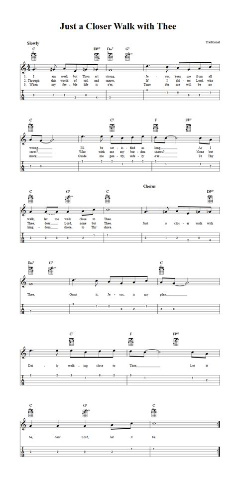 Just a Closer Walk with Thee: Chords, Sheet Music, and Tab