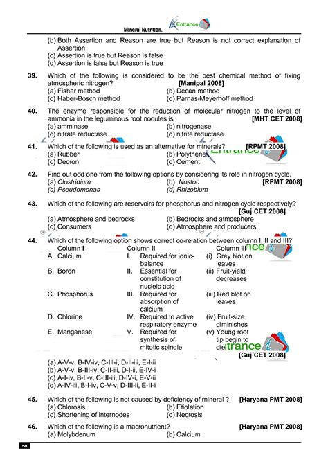 Biology MCQ for NEET Chapter- Mineral Nutrition  Entrancei
