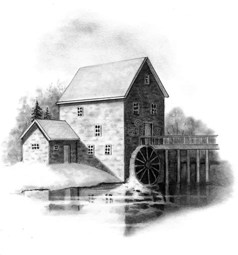 Pencil Drawing Of Old Stone Mill Stock Illustration