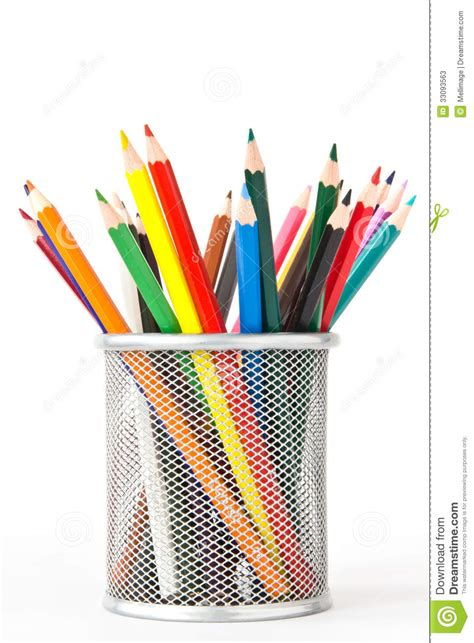 Colored Pencils In A Holder Stock Image - Image: 33093563