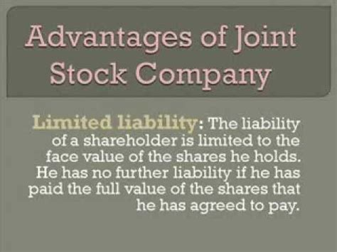 Advantages of joint stock company - YouTube