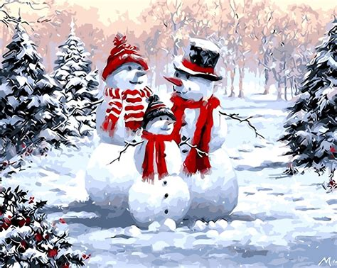 Painting by Numbers Kit - 40x50cm - Snowman Family