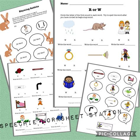R and W minimal pairs worksheets https://www