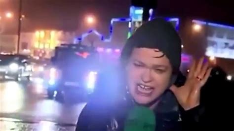 Reporter hit by stop sign during live tv  FUNNIEST VIDEO