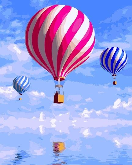 Paint by Numbers 40x50cm - Blue Sky Hot Air Balloons