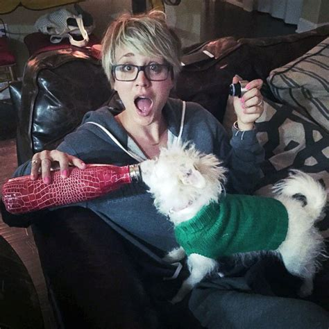 Kaley Cuoco Shares a Drink with Her Dog Ruby Picture