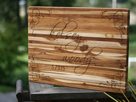 Custom Wedding Cutting Board with Personalized Engraving